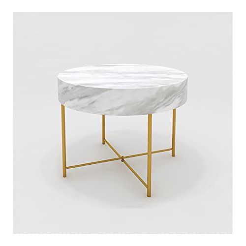 Mesa de exhibición redonda, soporte de almacenamiento Escritorio de pantalla Estante, Decoración para el hogar Sala de estar Tienda minorista, acabado de mármol de imitación / de oro ( Color : White )