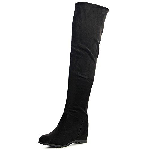 topschuhe24 1233 Damen Overknee Stiefel Overknees Keilabsatz Velours, Farbe:Schwarz, Größe:39 EU