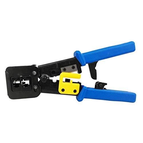 Herramientas de red EZ RJ45 Crimper Cable Stripper RJ12 Cat5 Cat6 Alicates de sujeción de presión Pinzas Clip Clipper Kit multifunción Light Blue