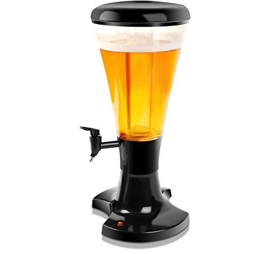 SIRUL Dispensador de Torre de Cerveza, Torre de Cerveza para el hogar de 3 L, dispensador de Cerveza para el hogar, con Luces LED y Tubo de Hielo extraíble, Fiestas, Uso de Bar en casa