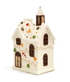 Casetta in Ceramica - Fantasia di Cioccolata - Porta Candele o Decorazione a Tema - Altezza 27 cm
