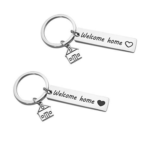 BESPORTBLE 2 Stück Willkommen zu Hause Schlüsselbund Einweihungsparty Schlüsselanhänger Erste Zuhause Schlüsselanhänger Tasche Hängen Ornamente Geldbörse Charms
