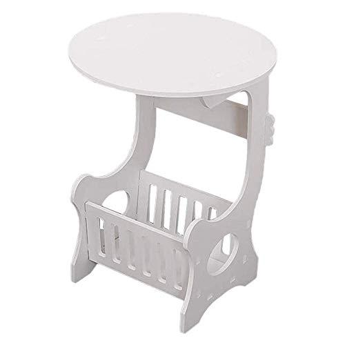 SUNXU Muebles para el hogar, Blanco, Minimalista, Moderno, plástico, Redondo, Mesa de café, té, Sala de Estar, Estante de Almacenamiento, mesita de Noche