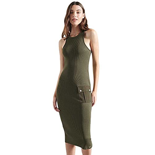 Superdry Racer Woven Patch Dress Vestido, Verde (Olive Night GPA), M (Talla del Fabricante:12) para Mujer
