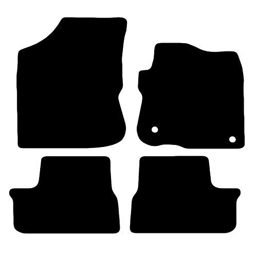 Carsio Carp-Cut-2635-(80 x 2) Tapis de Voiture sur Mesure pour 208 2012 à 2019-4 pièces avec 2 Clips Noir