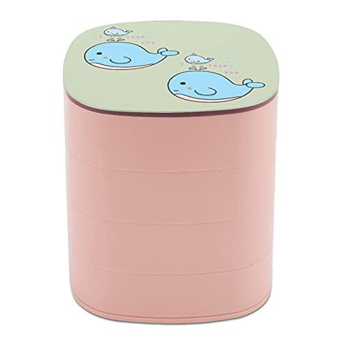 Rotar la caja de joyería Diseño Texto Madre Ballena Bebé Comic Océano Joyero caja pequeña con espejo, diseño multicapa plato de joyería para mujeres y niñas