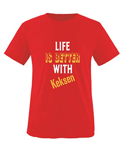 Comedy Shirts - Life is Better with Keksen - Mädchen T-Shirt - Rot/Weiss-Gelb Gr. 98/104