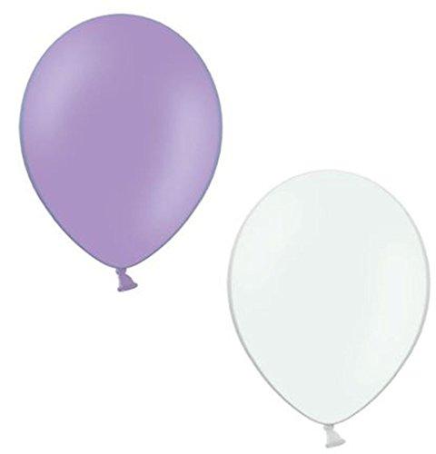 50 Luftballons je 25 lila & weiß Qualitätsballons 27 cm Ø (Standardgröße B85)