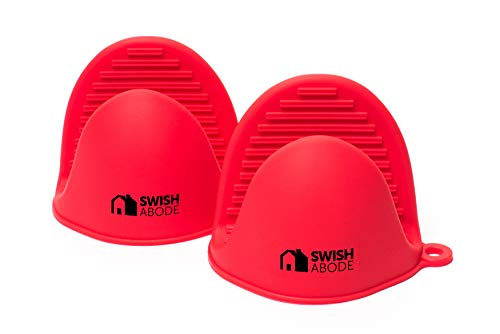 SWISH ABODE Red Mini Silicone Oven Mitts Set(2) for Instant Pot or Kitchen use as Potholder or Baking Holder Mini Oven mitt is Sold in a Pair and Mitten Holders can be Used When Cooking in a Pinch