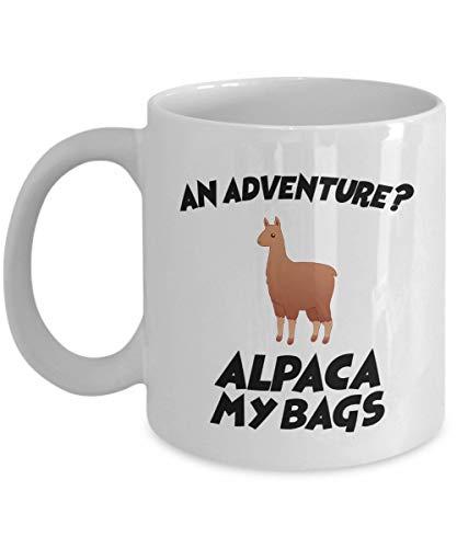 N\A ¿Una Aventura? ¡Alpaca Mis Bolsos! - Taza de café Divertida, Blanca