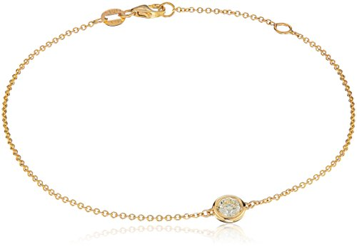 14k Yellow Gold Solitaire Bezel Set Diamond with Lobster Clasp Strand...