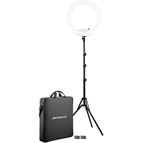 "Westcott 18"" Bi-Color LED Ring Light Kit with Batteries and Stand Professional Studio Continuous Lighting for Photography, Video Conferencing, and Video Production"