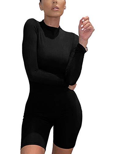 Mono Delgado de Manga Larga para Mujer Moda con Cremallera Deportes Sexy Medias de Yoga Pantalones Cortos Body