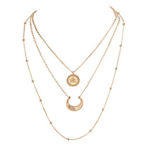 Garispace Frauen Gold Layered Choker Halskette Für Mädchen Sun Moon Multilayer Chain Halsketten Set