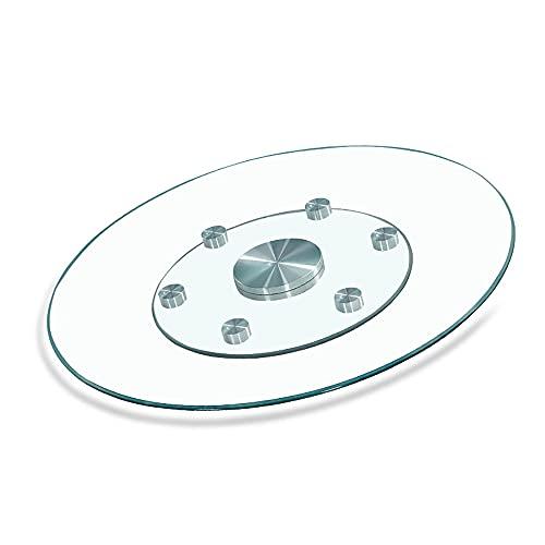 Lerpan Lazy Susan, plato de cristal templado para servir, mesa redonda, bandeja giratoria para fiestas de cumpleaños, cenas familiares, centro de mesa de comedor/Transparent / 100cm/39.4in