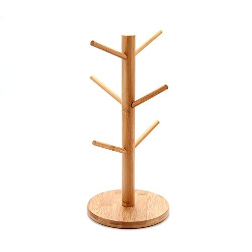 Guangcailun Baum-Form-6 Haken Holz-Becherhalter Kaffeetasse Anzeige Storage Rack Küche Holz Abtropffläche Regal Organizer