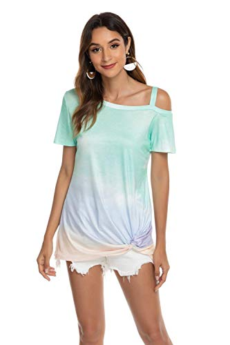Frauen T-Shirt gedruckt Kurzarm Gradient schräge Schulter New Summer Fashion Loose Casual Streetwear Tops-ich_XL