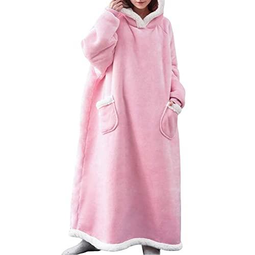Sudadera con capucha de gran tamaño, manta de gran tamaño, manta con capucha, súper suave, con bolsillo frontal, para hombres, mujeres, adolescentes y amigos, rosa, talla única