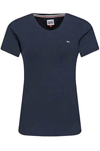 Tommy Jeans Damen TJW Stretch Crew Tee T-Shirt, Marineblau (Twilight Navy), M
