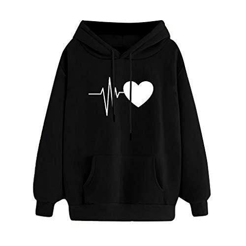 Sudadera con capucha para mujer y niña, casual, deportiva, moderna, de manga larga, estampado de letras, suave y cálido Nero-cuore M