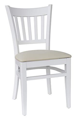 abritus Set 2 Stühle Stuhl Esszimmerstuhl Buche massiv weiß Polster Kunstleder Creme *T002