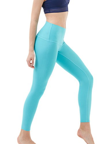 TSLA Mid/High Waist Yoga Pants with Pockets, Tummy Control Yoga Leggings, 4 Way Stretch Workout Running Tights, Ankle Thick Contour(fyp52) - Aqua, Small
