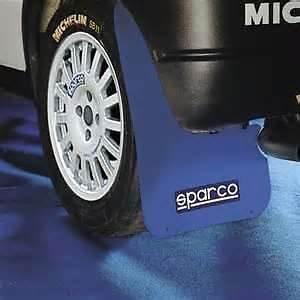 MSA - 4 Guardabarros para Exterior del Coche, Estilo Rally, con Logo de Sparco, Color Azul, Ajuste Universal
