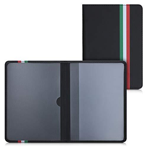 kwmobile Funda para permiso de circulación coche de cuero sintético - 10.5 x 14.8 CM - bandera italiana verde/rojo/negro