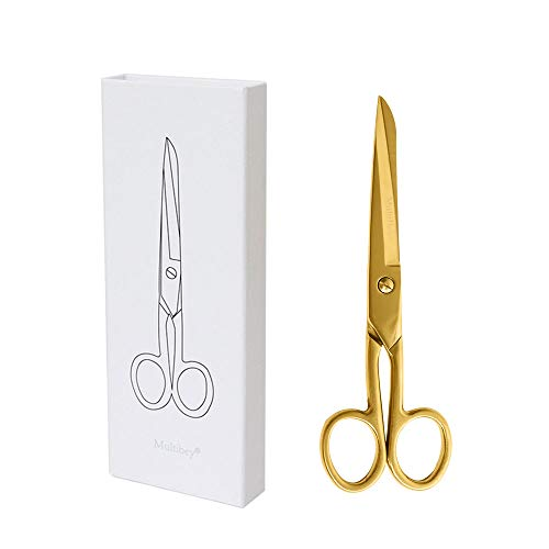 """MultiBey Gold Scissors 7"""" Tailor Fabric Paper Cutting Tools Craft Shears Heavy Duty Copper Straight Recycled Home Office Scissors Cutter"""