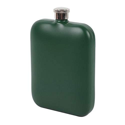 HIUGHJ Tragbare Weinflasche Flachmann 5 Unzen Edelstahl Vierkant Flachmann Wodka Whiskey Jug Outdoor mit Wein Werkzeuge 400ML, Army Green