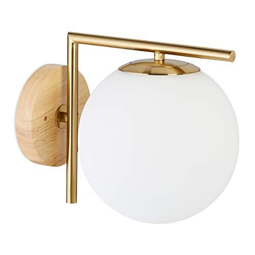 Relaxdays Applique murale laiton mat GLOBI intérieur design rétro moderne boule globe HxlxP: 23 x 20 x 28 cm- mat