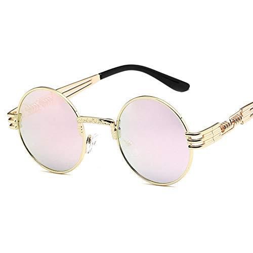 Gafas de sol europeas y americanas Gafas de sol de montura redonda retro para hombres Metal-Marco dorado Barbie Powder