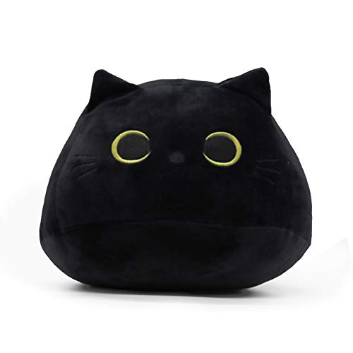 3D Black Cat Plush Toy Black Cat Pillow Durable Soft Plush Doll Cat Plushie Cat Pillow Cat Shaped Pillow Sofa Pillow Interior Decoration Doll Birthday Gift Child Gift for Girlfriend (Black)