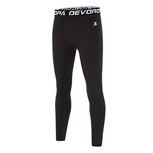 Devoropa Boys Leggings Quick Dry Youth Compression Pants Sports Tights Basketball Base Layer Black XS