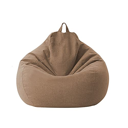 Lazy Sofa Cover, Extra Large Bean Bag Chair Cover (No Filler) Removable Machine Wash Sofa Case (Color : Brown)