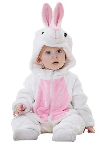 Traje de conejo recin nacido - felpa suave - forro polar - mono conejito - disfraz - carnaval - halloween - nia - nio - unisex - blanco y rosa - talla 70-0/6 meses
