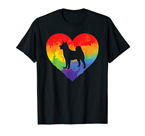 Husky Watercolor Art Rainbow Heart for Husky Lover T-Shirt