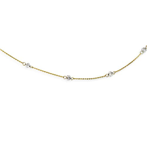14ct Tweetoon Spring Ring Goud Sparkle-Cut Kralen Met 2inch Ext Ketting - 41 Centimeters