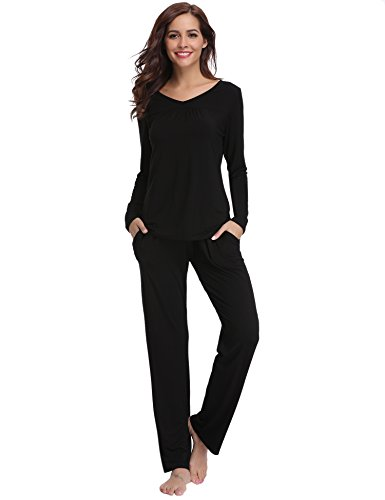 Aibrou Pijamas Mujer Algodón Invierno 2 Piezas,Ropa de Casa Dormir Casual Camiseta y Pantalones Largo Conjuntos Suave y Comodo S-XXL