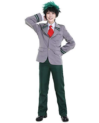 Miccostumes Men's Izuku Midoriya Deku Cosplay Costume School Uniform,Grey/Green,X-Large