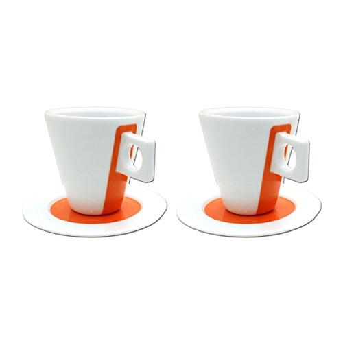 Nescafé Dolce Gusto Lungo Tasse, Porzellan, 2er Set / 4-tlg., Orange, Kaffee, 125 ml