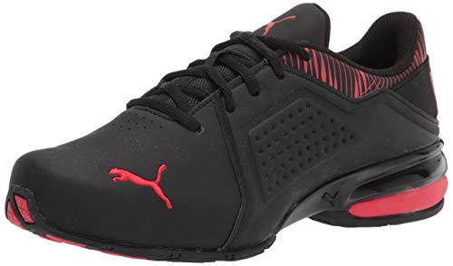 PUMA Men's Viz Runner Cross-Trainer, Black/High Risk Red, 11.5