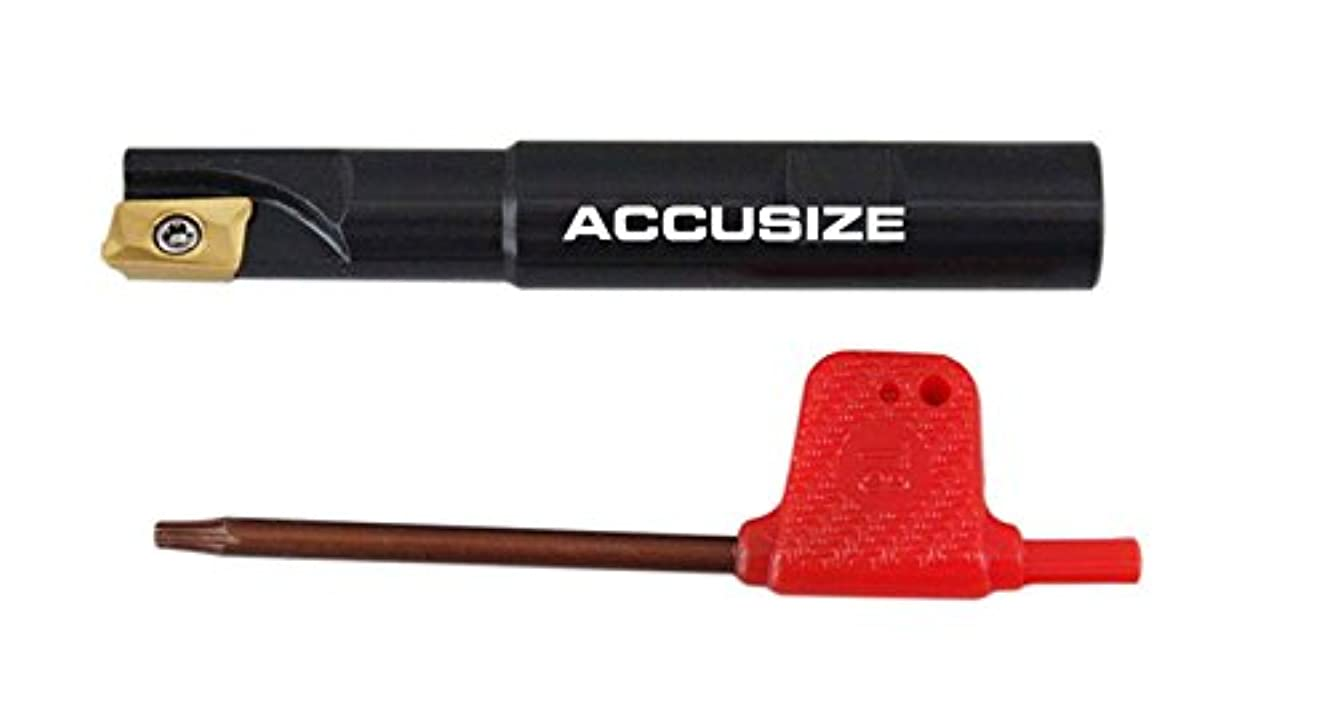 Accusize Industrial Tools 1/2'' 90 Deg Square Shoulder Indexable End Mill, 3-1/4'' Overall Length, Apkt11t3 Carbide Insert, 1 Flute, 0056-0913