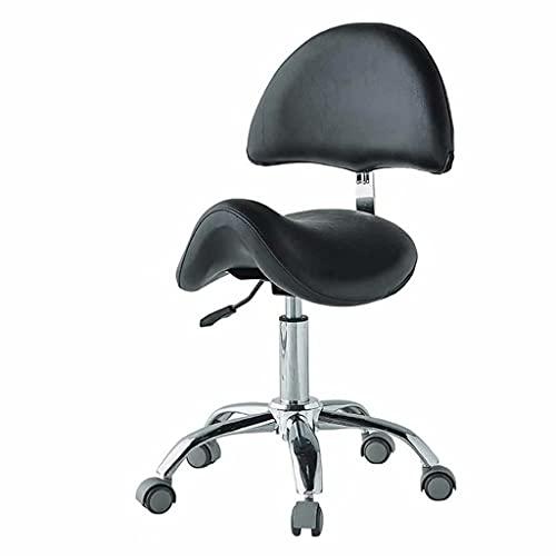 Sillón de Masaje, sillón Giratorio y elevable, con Asiento de PU, Regulable en Altura, rotación de 360 Grados, diseño ergonómico, Carga de 200 kg (Color: Negro)