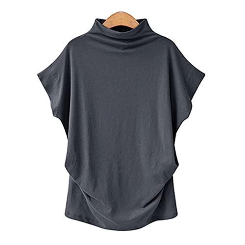 Vår och sommar kvinnor sy hög hals topp fladdermus ärmar kortärmad tröja lös T-shirt