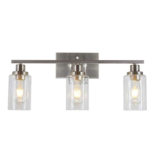 MELUCEE 3 Lights Wall Sconce Brushed Nickel Finished Modern Bathroom Vanity Light Fixtures with Clear Glass Shade Suit for Porch Bedroom Foyer Kitchen