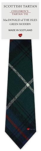 I Luv Ltd Garçon Tout Cravate en Laine Tissé et Fabriqué en Ecosse à MacDonald Of The Isles Green Modern Tartan