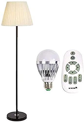 Lámparas de Pie Lámpara de Pie 7-9W E14 Fabricada en Tela, Continuamente Regulable, con Interruptor de Cremallera, Pantalla de Hierro Forjado, Dormitorio-Estudio