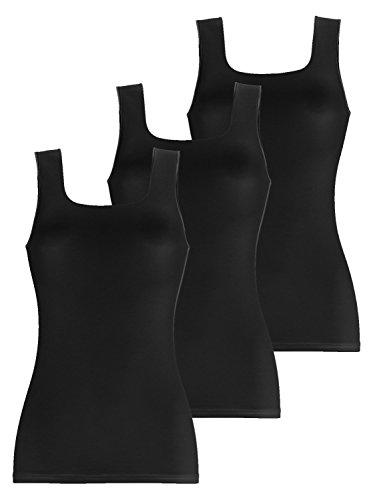 Pompadour Intime Shirt ohne Arm Micromodal Damenunterwäsche Gr 38-50 im 3er Pack (46, 9 schwarz)