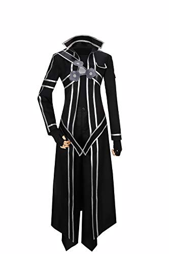 Cosplayfly Sword Art Online SAO Kirito Kazuto Kirigaya Halloween Karneval Cosplay Kostüm Schwarz Herren M